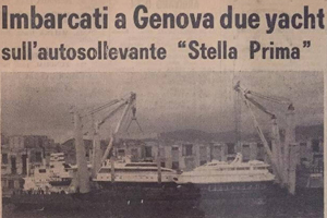 Two yachts loaded on the Stella Prima self-lifting vessel in Genoa